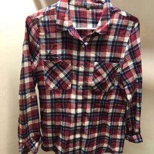 Red, white, and blue classic flannel